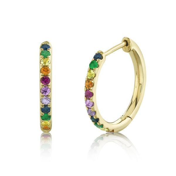 Shy Creation 14K Yellow Gold Multi-Color Stone Hoop Earrings SVS Fine Jewelry Oceanside, NY