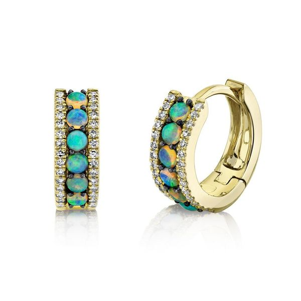 Shy Creation 14K Yellow Gold, Diamond, And Opal Earrings SVS Fine Jewelry Oceanside, NY