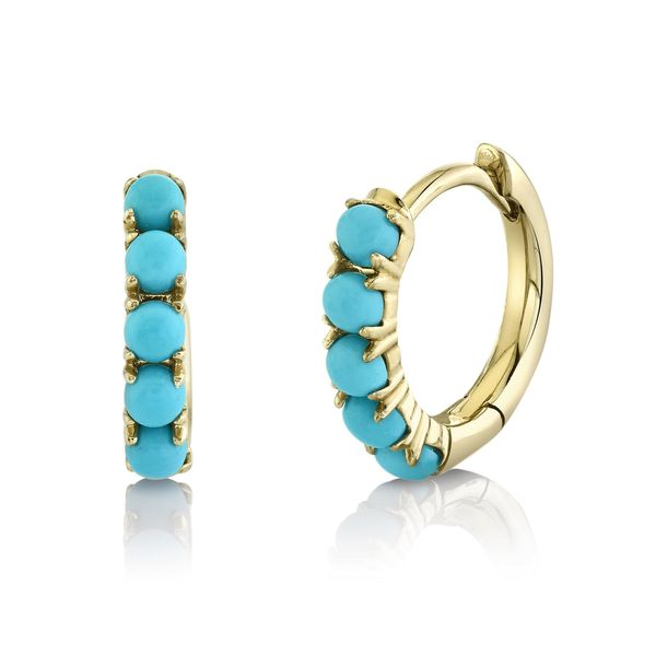 Shy Creation 14K Yellow Gold And Turquoise Earrings SVS Fine Jewelry Oceanside, NY