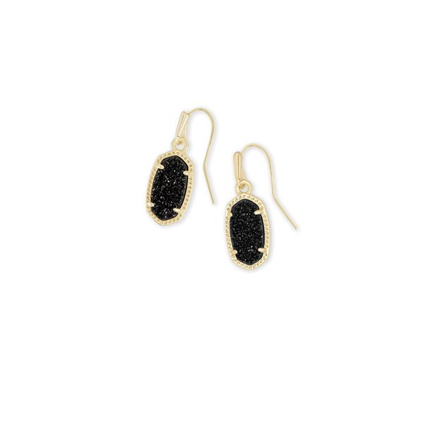 Kendra Scott Lee Gold Earrings In Black Drusy SVS Fine Jewelry Oceanside, NY