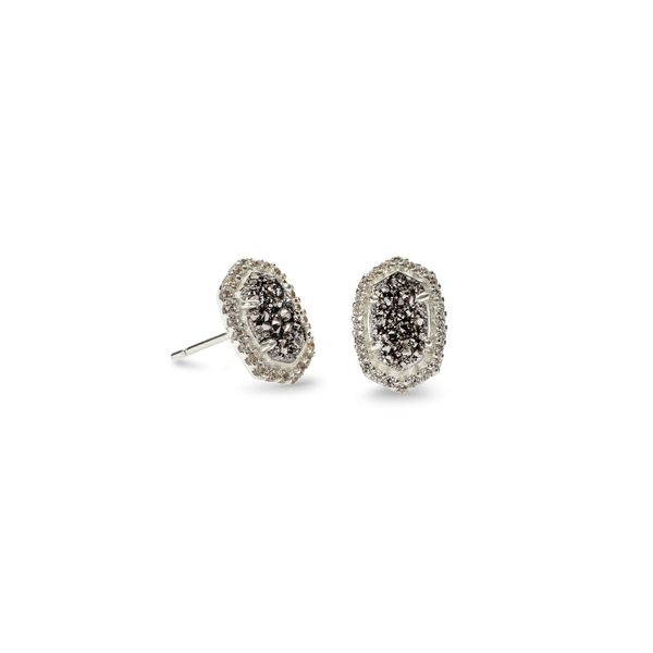 Kendra Scott Cade Silver Stud Earrings in Platinum Drusy SVS Fine Jewelry Oceanside, NY