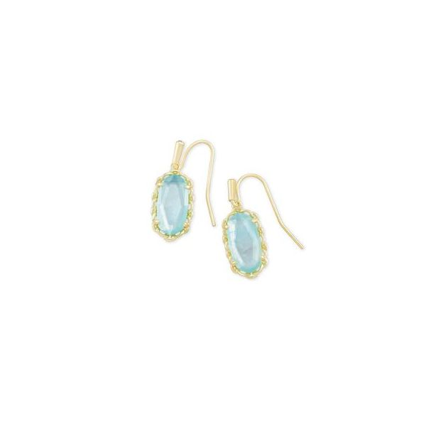 Kendra Scott Macramé Lee Gold & Aqua Illusion Earrings SVS Fine Jewelry Oceanside, NY
