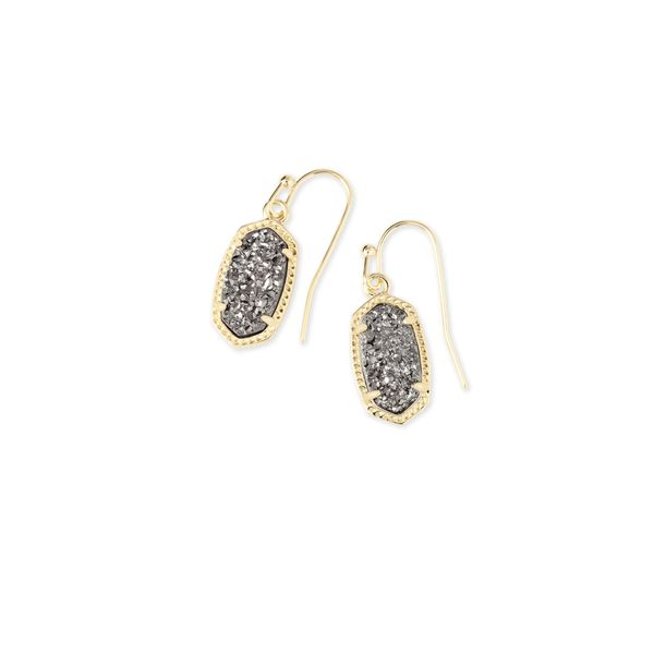 Kendra Scott Lee Gold Earrings In Platinum Drusy SVS Fine Jewelry Oceanside, NY