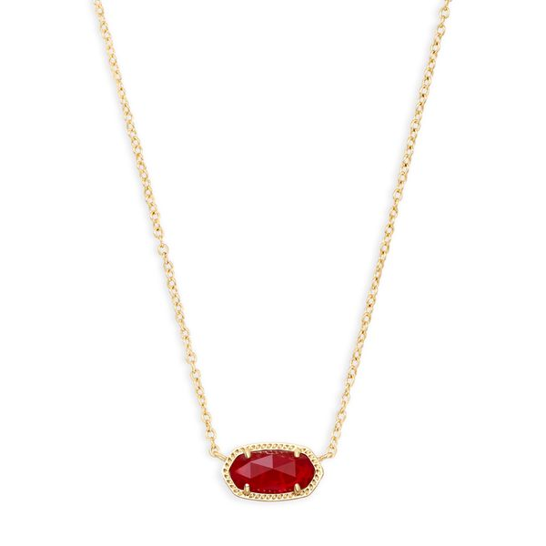 Kendra Scott Elisa Gold Pendant Necklace in Ruby Red SVS Fine Jewelry Oceanside, NY