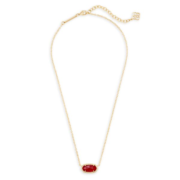 Kendra Scott Elisa Gold Pendant Necklace in Ruby Red Image 2 SVS Fine Jewelry Oceanside, NY