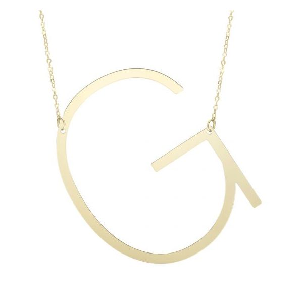 14K Yellow Gold Polished Initial G Necklace SVS Fine Jewelry Oceanside, NY