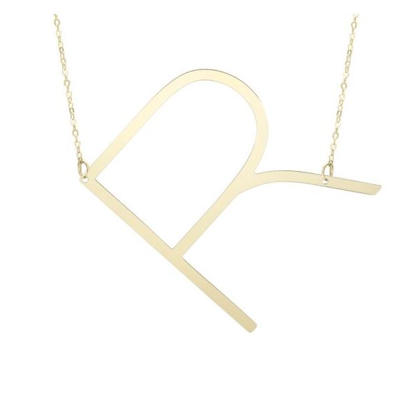 14K Yellow Gold Polished Initial R Necklace SVS Fine Jewelry Oceanside, NY