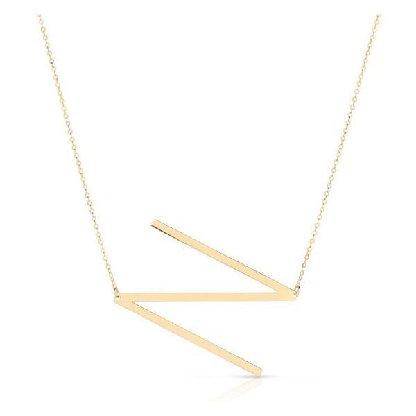 14K Yellow Gold Polished Initial N Necklace SVS Fine Jewelry Oceanside, NY