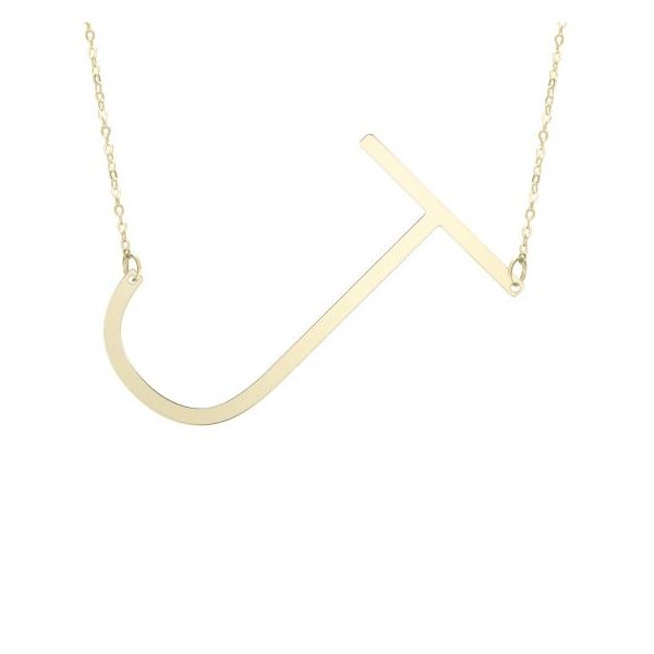 14K Yellow Gold Polished Initial J Necklace SVS Fine Jewelry Oceanside, NY