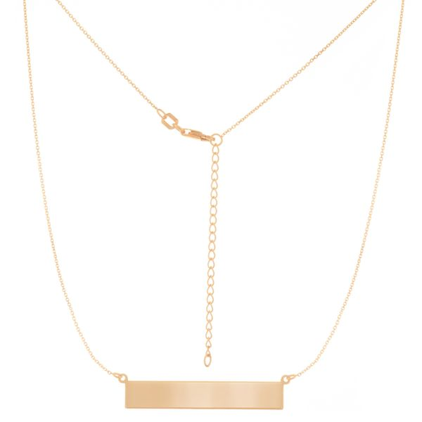 14K Yellow Gold Engravable Bar Necklace, 18