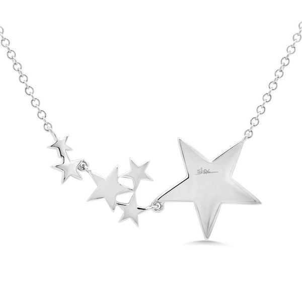 14K White Gold and Diamond Pave Star Necklace Image 3  ,