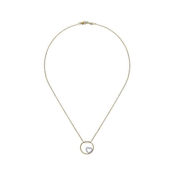 Gabriel & Co. 14K Yellow/White Gold Heart Necklace Image 2  ,