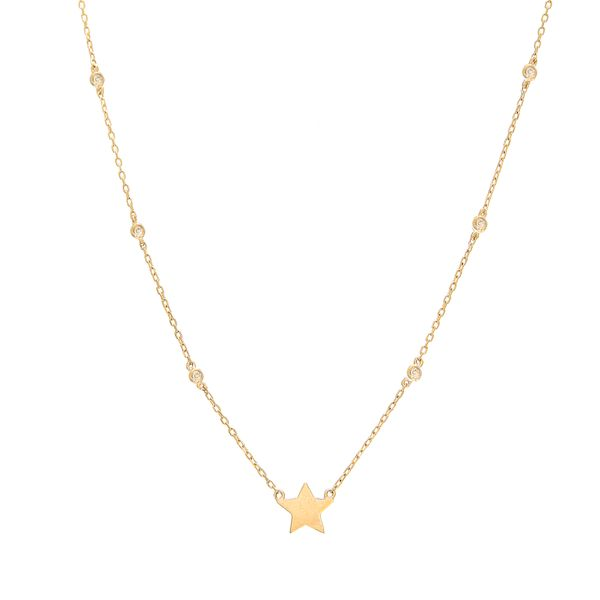 14K Yellow Gold Bezel Diamond Star Necklace SVS Fine Jewelry Oceanside, NY