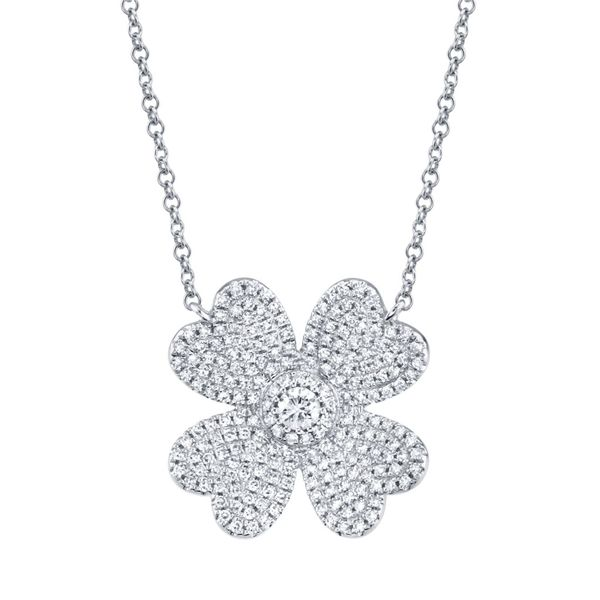 Shy Creation White Gold Diamond Clover Necklace SVS Fine Jewelry Oceanside, NY