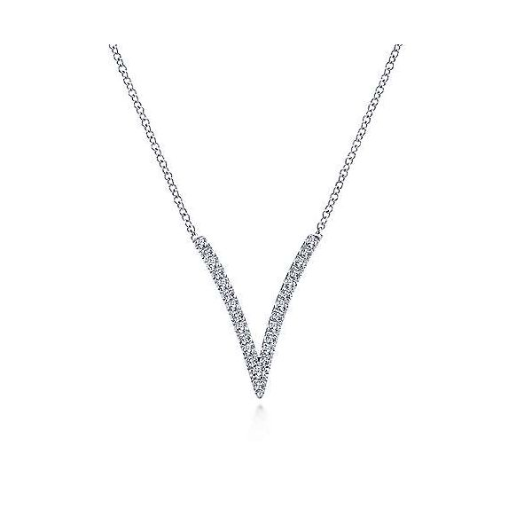 Gabriel & Co. Kaslique 14K White Gold Diamond V Necklace SVS Fine Jewelry Oceanside, NY