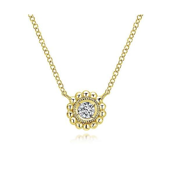 Gabriel & Co. Bujukan 14K Yellow Gold Diamond Necklace SVS Fine Jewelry Oceanside, NY