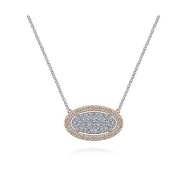 Gabriel & Co. Lusso White & Rose Gold Diamond Necklace SVS Fine Jewelry Oceanside, NY