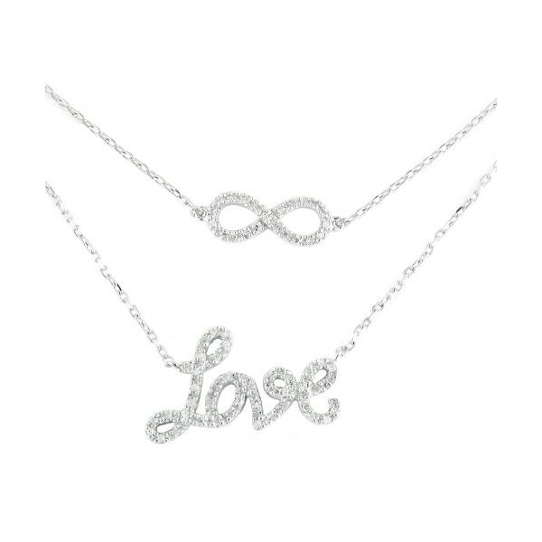 Sterling Silver Diamond Infinity/Love Necklace, .22cttw SVS Fine Jewelry Oceanside, NY