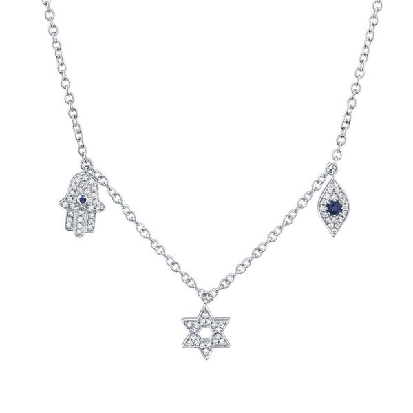 Shy Creation White Gold, Diamond, & Sapphire Necklace SVS Fine Jewelry Oceanside, NY