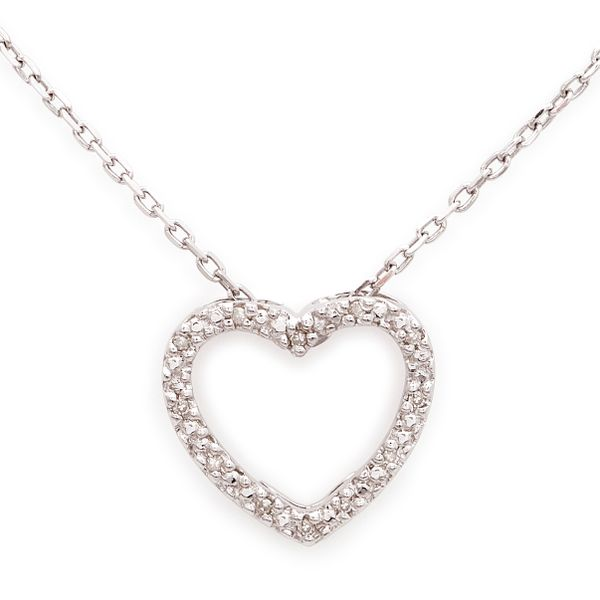 Sterling Silver and Diamond Heart Necklace, 0.05Cttw, 18
