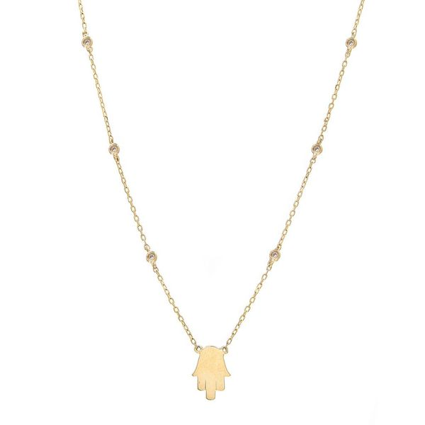 14K Yellow Gold Bezel Diamond Hamsa Necklace SVS Fine Jewelry Oceanside, NY