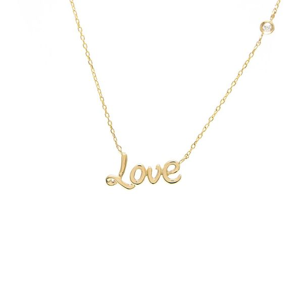14K Yellow Gold Bezel Diamond Love Necklace SVS Fine Jewelry Oceanside, NY