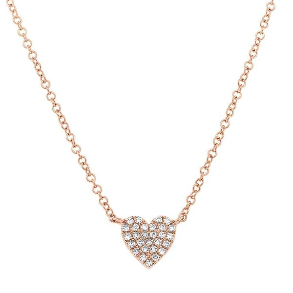 Shy Creation 14K Rose Gold and Diamond Heart Necklace SVS Fine Jewelry Oceanside, NY