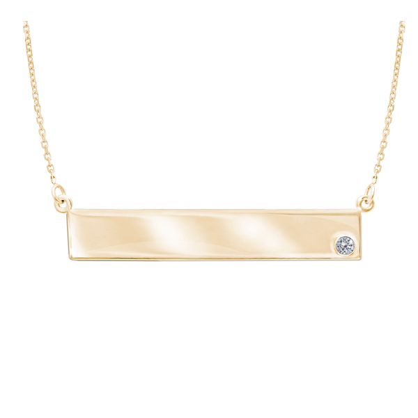 Yellow Gold Engravable Diamond Accent Bar Necklace SVS Fine Jewelry Oceanside, NY