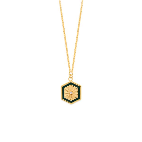 Yellow Gold Green Hexagon Medallion Necklace SVS Fine Jewelry Oceanside, NY