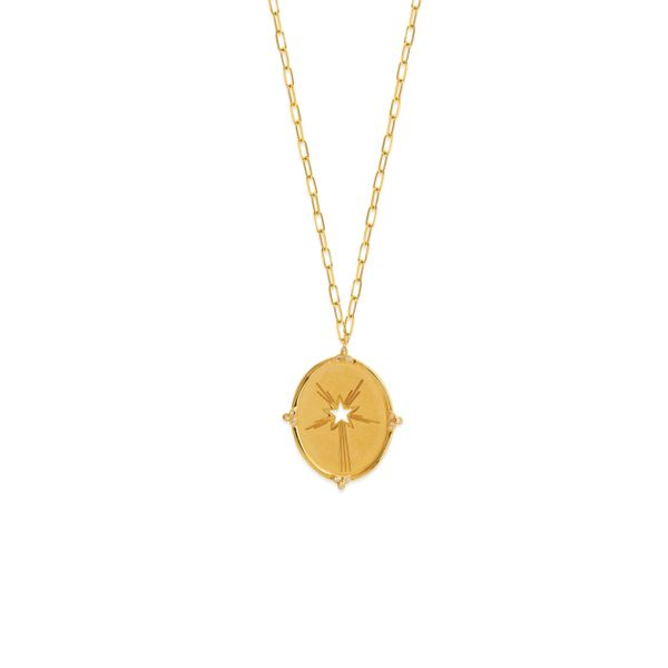 Yellow Gold & Diamond Starburst Medallion Necklace SVS Fine Jewelry Oceanside, NY