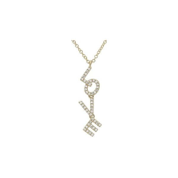 Yellow Gold Diamond Love Necklace, 0.13Cttw SVS Fine Jewelry Oceanside, NY