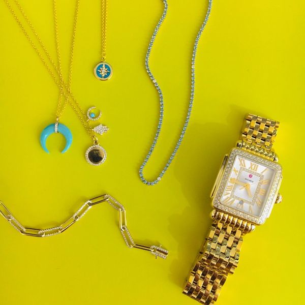 Yellow Gold Diamond Hamsa,Turquoise Horseshoe and Disc Jumble Necklace Image 2 SVS Fine Jewelry Oceanside, NY