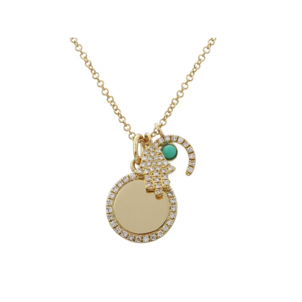 Yellow Gold Diamond Hamsa,Turquoise Horseshoe and Disc Jumble Necklace SVS Fine Jewelry Oceanside, NY