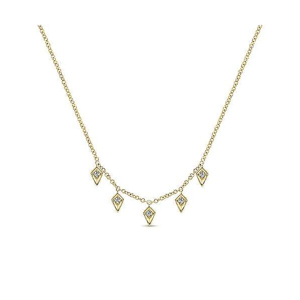 Gabriel & Co. Kaslique 14K Yellow Gold Diamond Necklace SVS Fine Jewelry Oceanside, NY