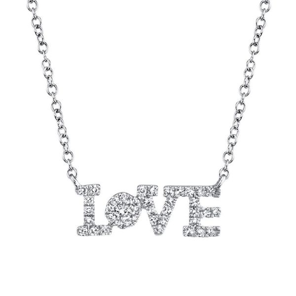 Shy Creation White Gold And Diamond Love Necklace SVS Fine Jewelry Oceanside, NY