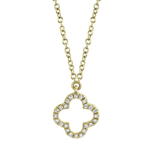 Shy Creation 14K Yellow Gold And Diamond Clover Necklace SVS Fine Jewelry Oceanside, NY