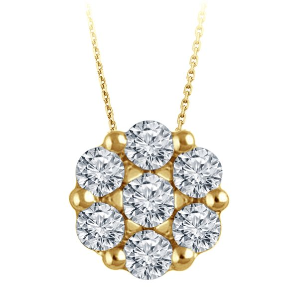 Yellow Gold Diamond Flower Cluster Necklace, .23cttw SVS Fine Jewelry Oceanside, NY