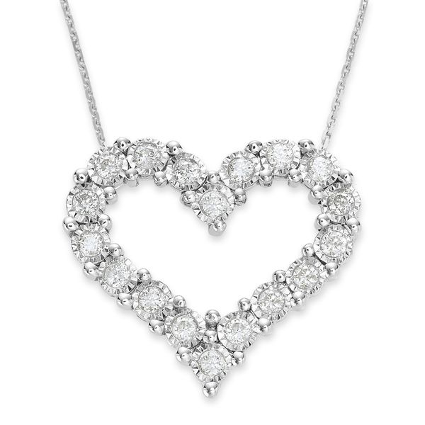 14K White Gold and Diamond Heart Pendant, .05cttw, 18