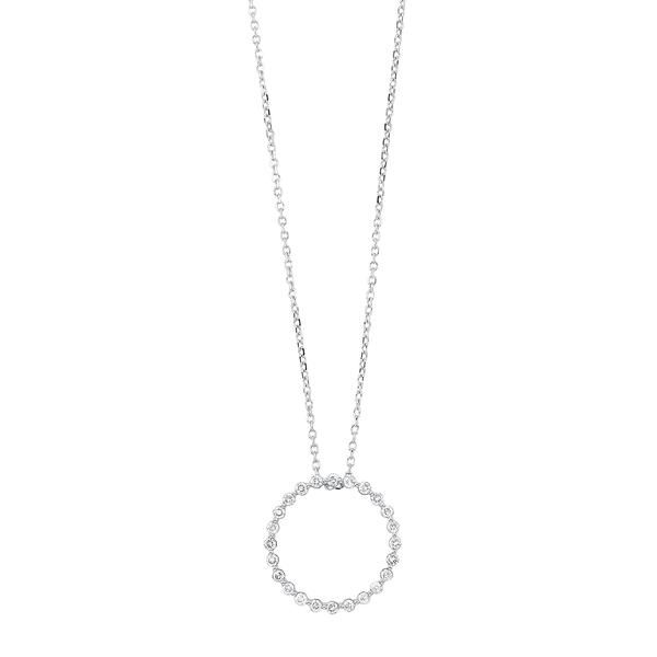 14K White Gold Diamond Necklace, 0.25Cttw, 18