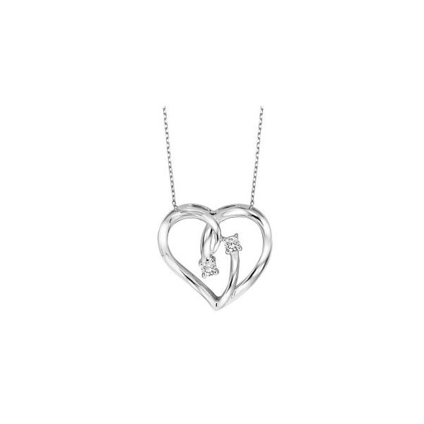 Sterling Silver & Diamond Heart Necklace, 0.05Cttw, 18