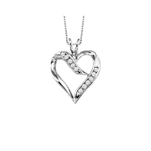 Sterling Silver & Diamond Heart Necklace, 0.02Cttw, 20