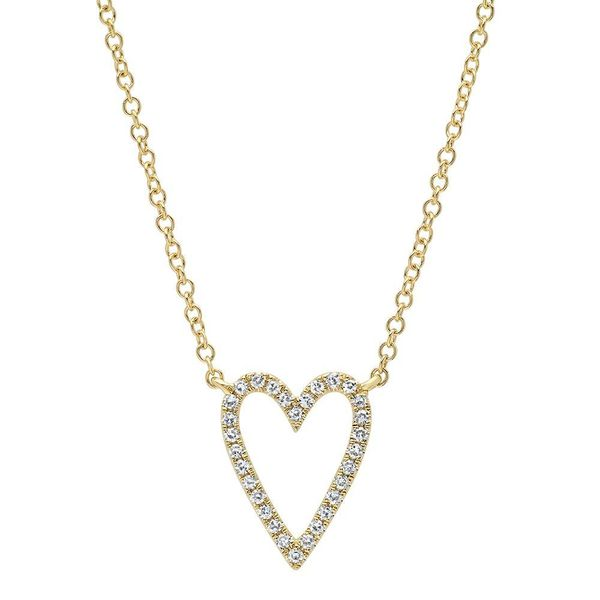 Shy Creation 14K Yellow Gold & Diamond Heart Necklace SVS Fine Jewelry Oceanside, NY