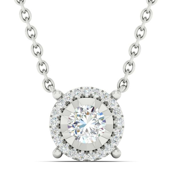 14K White Gold And Diamond Halo Pendant, 0.33Cttw, 18