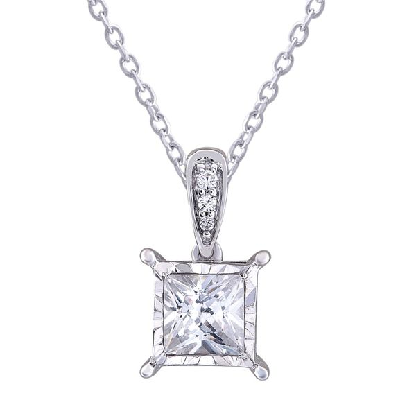 14K White Gold And Princess Diamond Pendant SVS Fine Jewelry Oceanside, NY