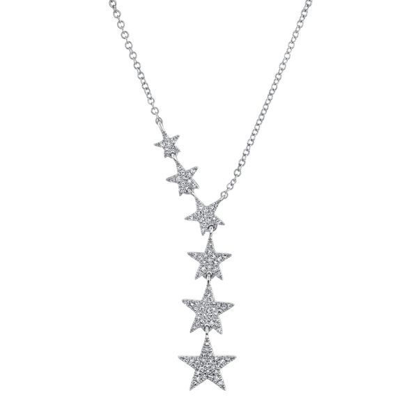 Shy Creation 14K White Gold And Diamond Stars Necklace SVS Fine Jewelry Oceanside, NY