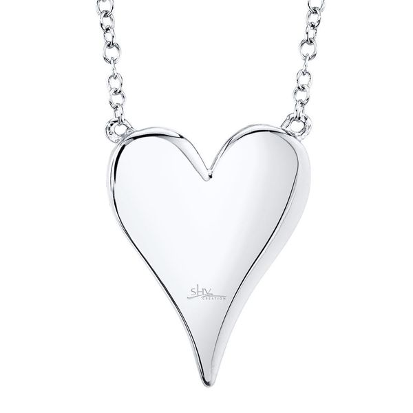 Shy Creation 14K White Gold Diamond Heart Necklace Image 3 SVS Fine Jewelry Oceanside, NY