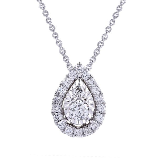 14K White Gold And Diamond Halo Pendant, 0.25Cttw, 18