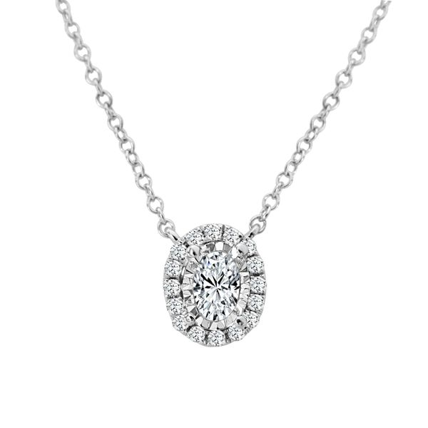 18K White Gold And Oval Halo Diamond Necklace SVS Fine Jewelry Oceanside, NY