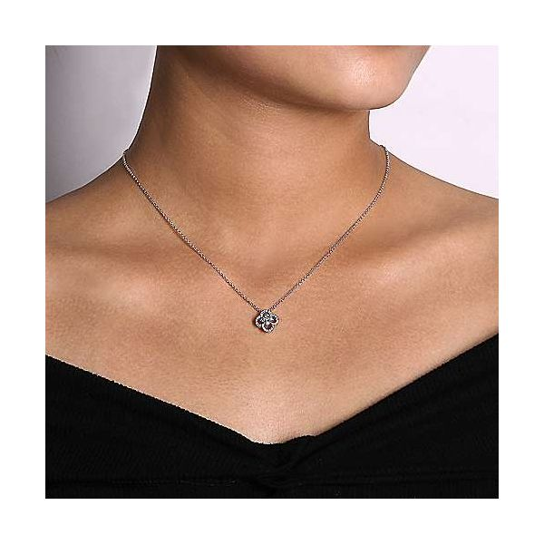 Gabriel & Co. Lusso 14K White Gold Diamond Necklace Image 2 SVS Fine Jewelry Oceanside, NY