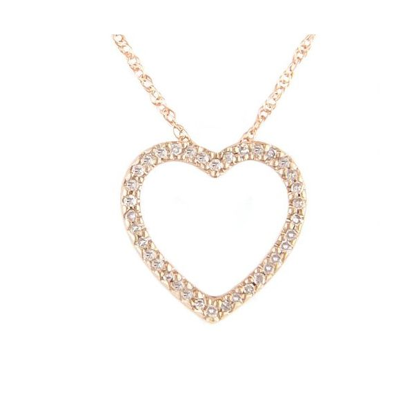14K Rosé Gold Diamond Heart Necklace, 0.12cttw, 16